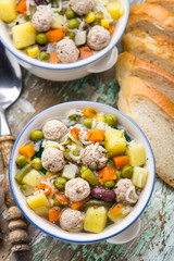 Meatball soup with vegetables