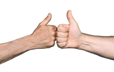 Two men bumping fists with thumbs up
