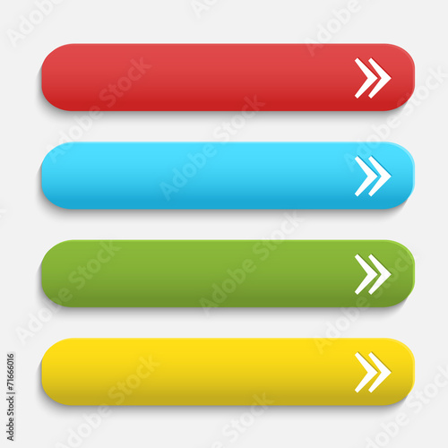 Vector  realistic Matted color Web  buttons  with arrow symbol i