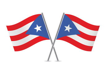 Puerto Rico flags. Vector illustration.