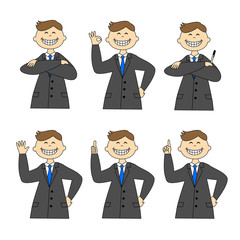 A set of businessman, six poses