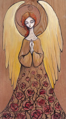 Angel with dress with roses painted on a wood.