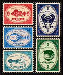 set of  postage stamps with seafood