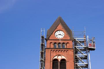 Kirche Kirchenturm Kreuz Reparatur
