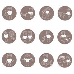 Flat icons horoscope set