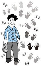 Hombre y manos.