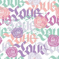 Love calligraphy seamless pattern