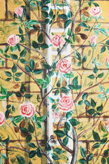 wall background with roses