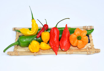colorful mix of the freshest and hottest chili peppers