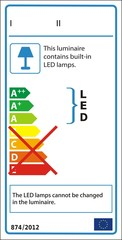 Energetic label for luminaire containing non-replaceable LED
