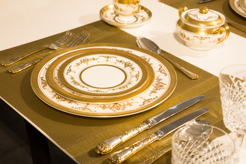 Elegant gold and white china plates in setting