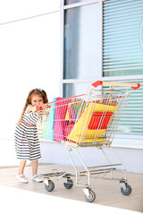 Happy little girl with shop bags in supermarket trolley,