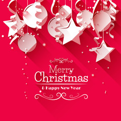 Modern Christmas greeting card - flat design style