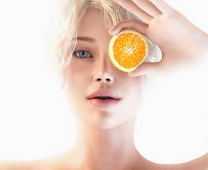 Donna con fetta di arancia