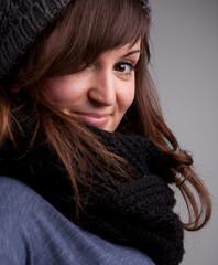 pretty girl in winter clothes