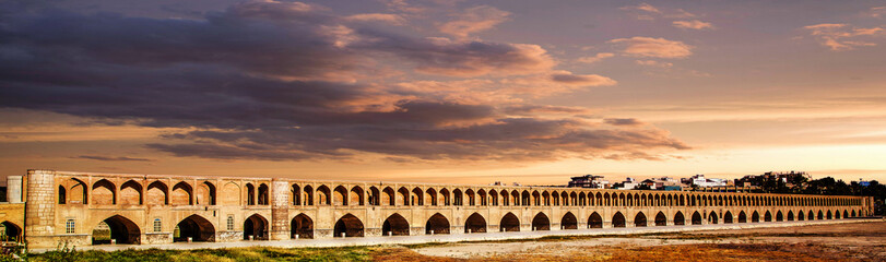 Sio Se Pol bridge on Zayande River in Isfahan, Iran