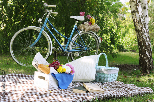 Old bicycle and picnic snack - 71671027