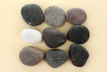 Individuality concept. Sea stones on beige background