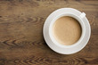 canvas print picture - Coffee cup on wooden table top view