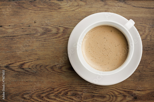 canvas print picture Coffee cup on wooden table top view