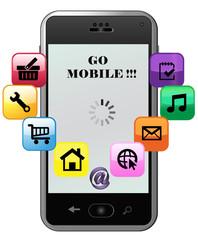 Go, mobile, concept