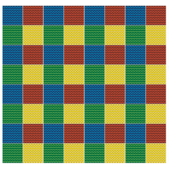 pattern seamless crocheted blanket of colored square patches.