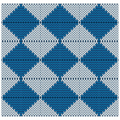 vector knitted seamless pattern of blue and white rhombuses