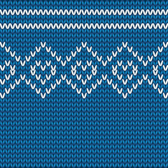 vector knitted hearts pattern on a blue background