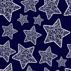 seamless pattern Christmas five-pointed stars
