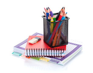 Colorful pencils and office supplies