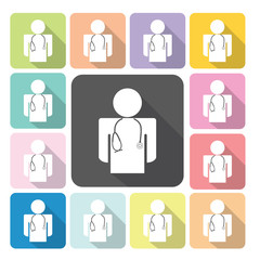 Doctor Icon color set vector illustration