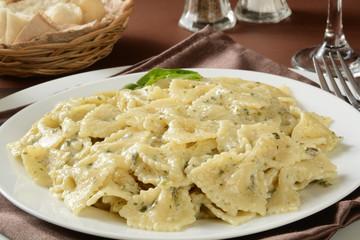 Farfalle pasta with pesto sauce
