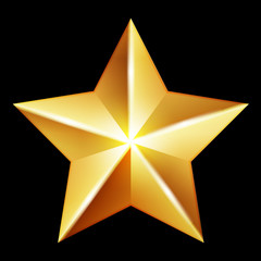 Vector gold star on black background