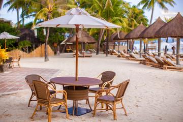 Outdoor cafe on tropical beach