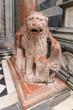 detail of marble lion in Bergamo