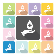 hand holding diagnostics Icon color set vector illustration