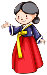 A sketch of a girl wearing an Asian costume