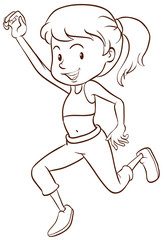 A plain sketch of a girl dancing
