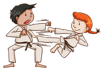 A male and a female doing martial arts