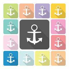 Anchor Icon color set vector illustration