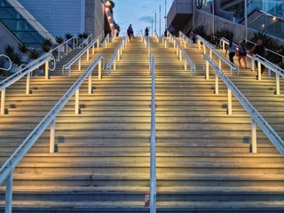 Outdoor Stairs lit up at night, San Diego Convention Center