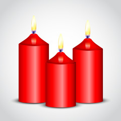 Vector illustration of red candles