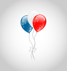Flying balloons in american flag colors