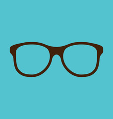 Vintage glasses icon isolated on blue background