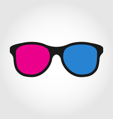 3d glasses red and blue on white  background