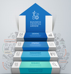 3d business arrow step staircase infographics. Vector