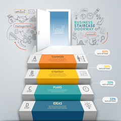 Business staircase doorway conceptual infographics. Vector