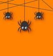 Leinwanddruck Bild - Cute funny spiders and cobweb