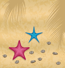 Sand background with starfishes and pebble stones