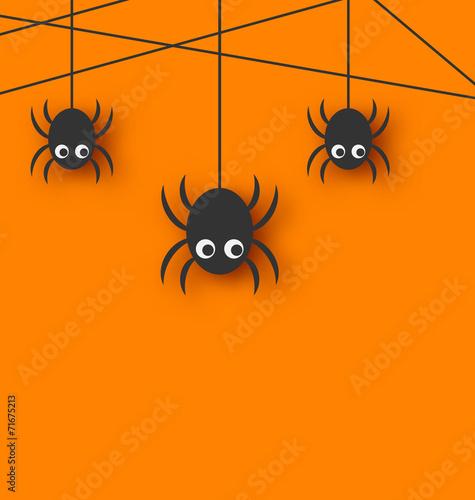 Leinwanddruck Bild Cute funny spiders and cobweb
